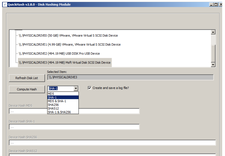 Quickhash v2.8.0 Disk Hashing Module screenshot