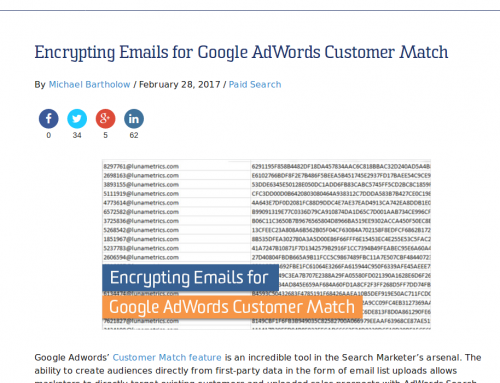 Michael Bartholow blogs about using QuickHash for encrypting email addresses for Google AdWords Customer Match
