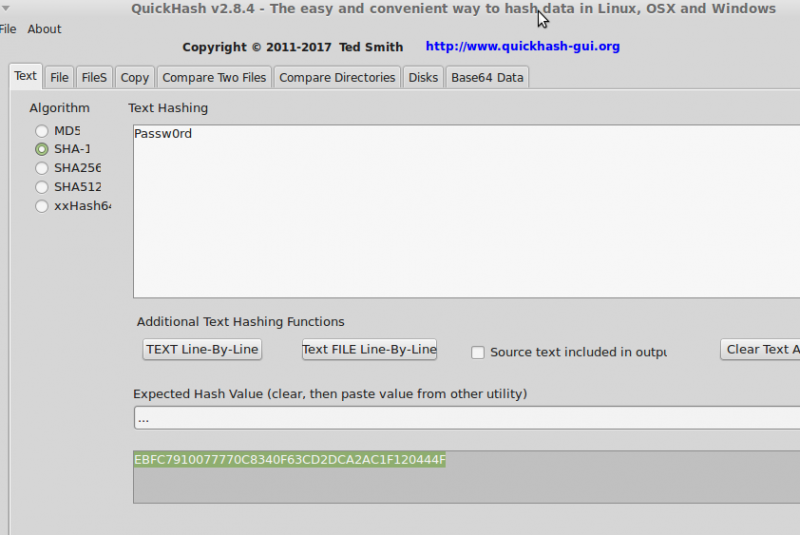 Screenshot-QuickHash v2.8.4 - Text hashing passwords